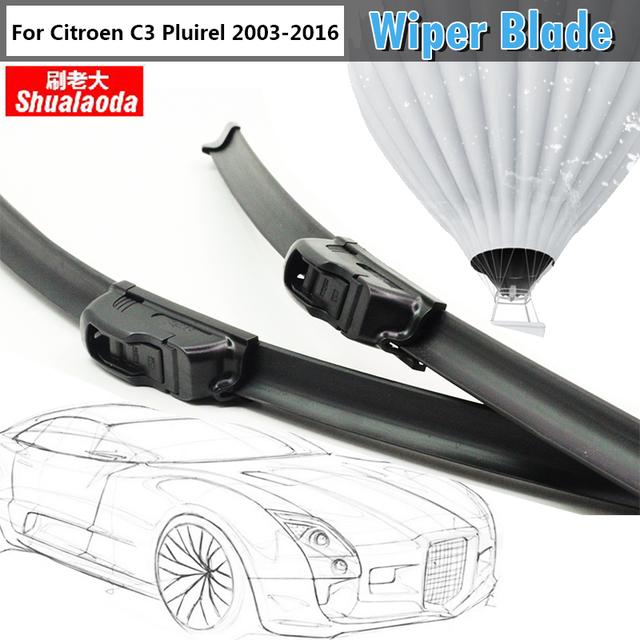 Janela Do Carro Auto Limpador Lâmina de Borracha Macia Pluirel Windshield Bracketless 2 Pcs Para Citroen C3 2003-2016