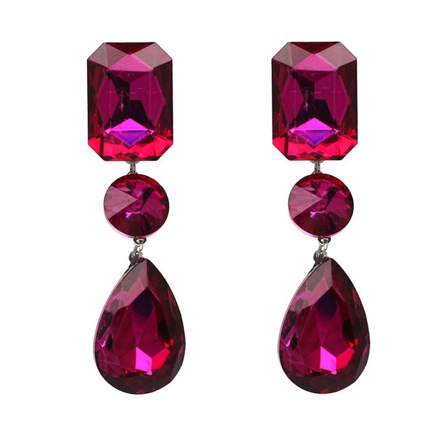 2017 Vintage Luxury Crystal Brincos Hot Pink Water Drop Dangle Earrings Statement Jewelry Whole Green Blue