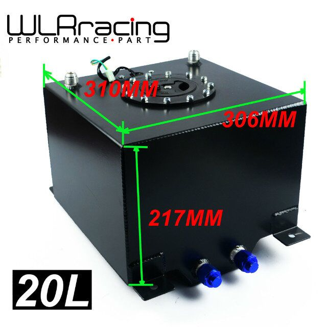 WLR RACING - BLACK 20L Aluminium Fuel Surge tank Fuel cell with sensor foam inside WLR-TK39BK 20l aluminum fuel surge tank with cap foam inside mirror polished fuel cell without sensor