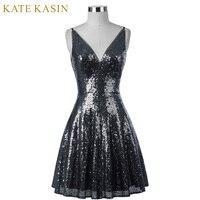 Kate Kasin Short Sequins Cocktail Dress 2017 Women Knee Length Formal Gown V Neck Cocktail Party