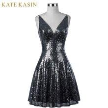 Kate Kasin Short Sequins Cocktail Dress 2017 Women Knee Length Formal Gown V Neck Cocktail Party Dresses Vestido Coquetel 1075