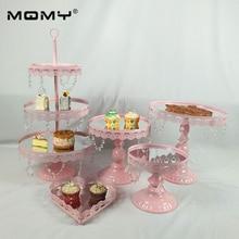 5PCS/ Set Gold Pink Silver Beautiful Tray 3 tier Cupcake Dessert Display Decoration Tools Wedding Crystal Mirror Cake Stand set