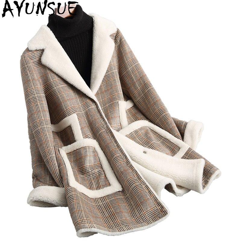 Femme Mode D'agneau Chaud Wyq1585 Femmes Moyen D'hiver Plaid Manteaux Veste 18009 De Réel Vestes Manteau Longueur Ayunsue Fourrure Laine Épaisse andCqax
