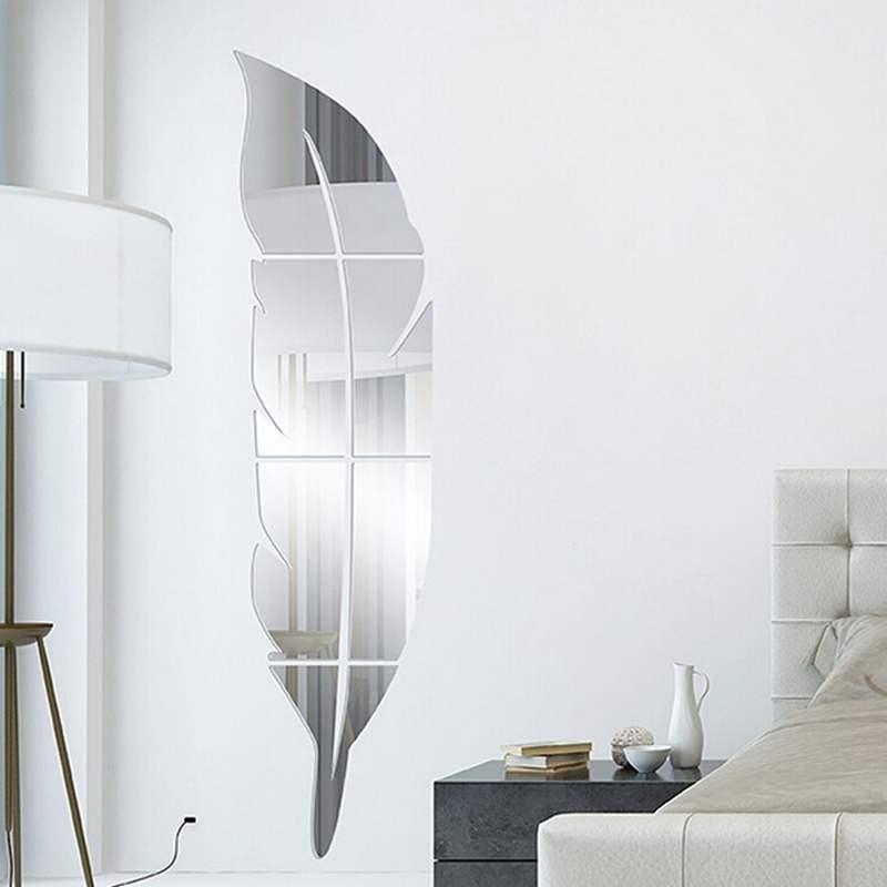 nuevo diseo diy pluma moderna vestirse espejo de acrlico pegatinas d entrada decoracin de la