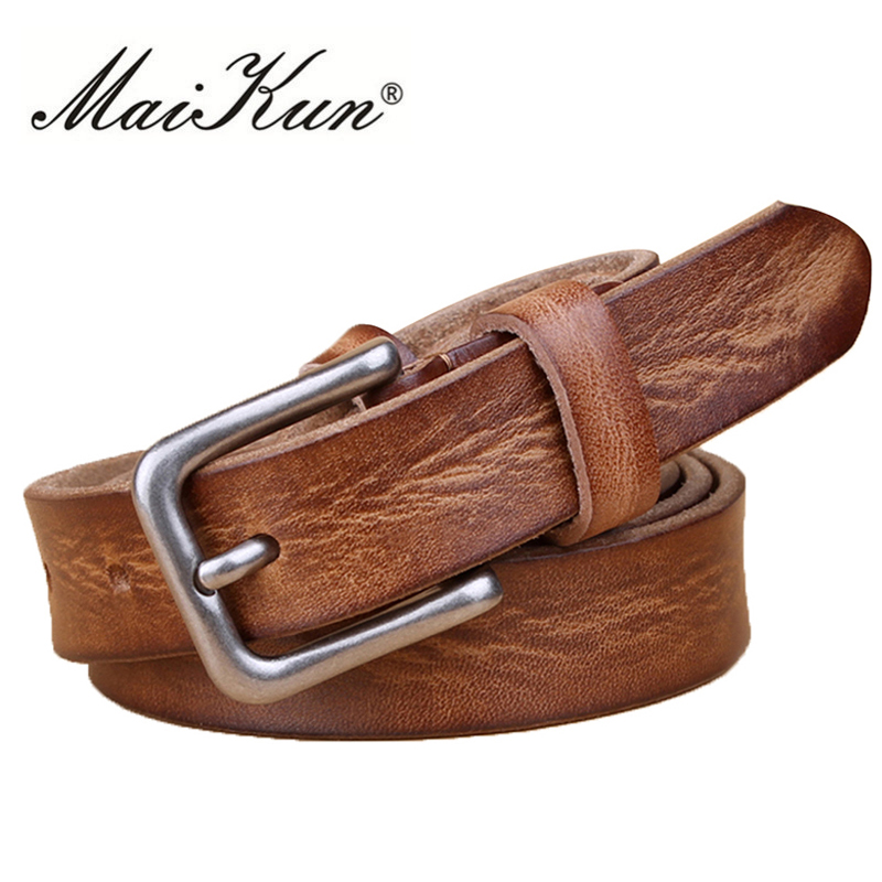 MaiKun Thin Belts For Women Unisex Genuine Leather Belt Female Metal Pin Buckle Belt