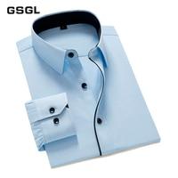 Brand New Men Shirt Long Sleeve Solid/Patchwork Design Men Dress Shirts Business Party Formal Shirt Work Wear Slim Male Shirts