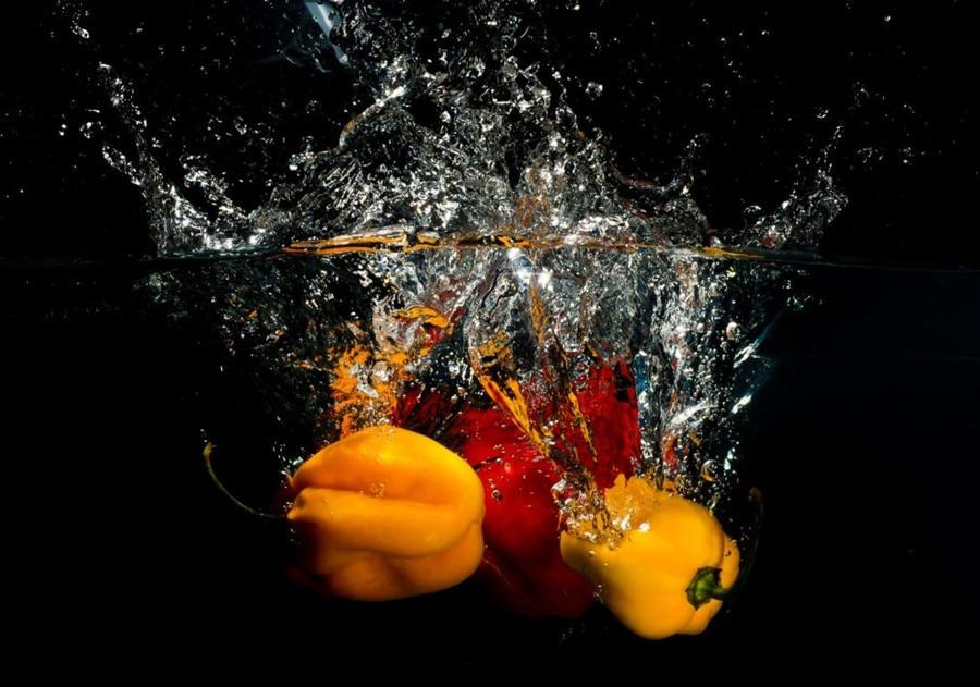Custom Pepper Vegetables Water Spray Food restaurant wallpaper, living room tv sofa wall bedroom kitchen wallpaper for walls 3 d  недорого