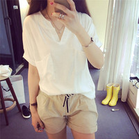 לבן באיכות גבוהה S-3XL נשים חולצה לא רגיל בסיסי כותנה אלסטיים T נקבה Loose מקרית חולצות שרוול קצר חולצת כיסים