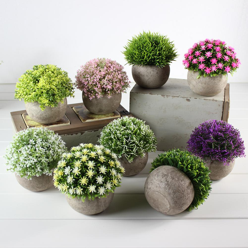 1Set Artificial Grass Ball Plant Potted False Green Plant Living Room Decorates Flower Indoor Household Decoration Bonsai