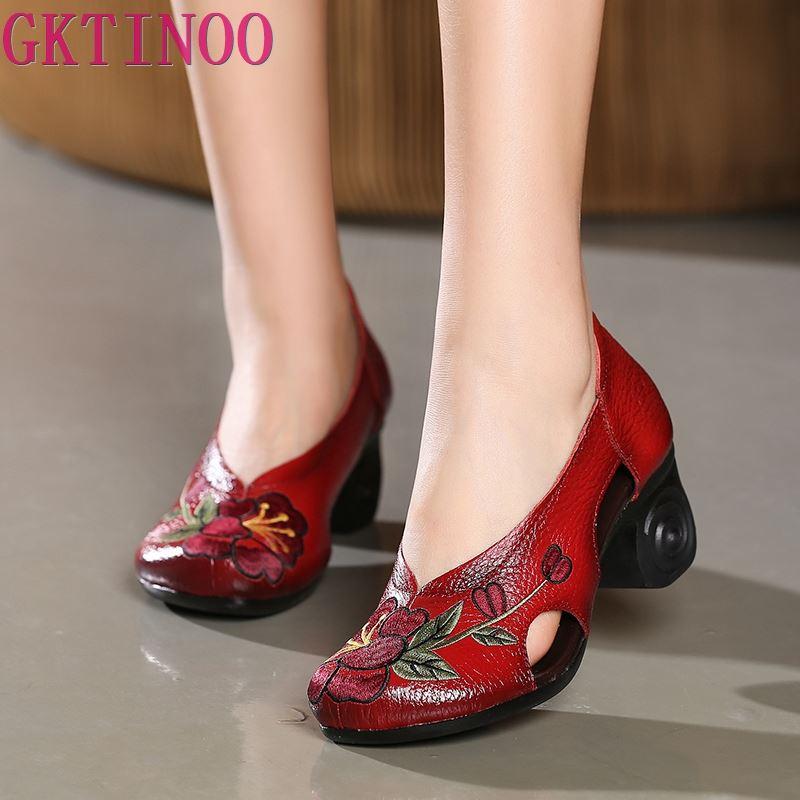 เย็บปักถักร้อยทำด้วยมือผู้หญิงรองเท้าส้นสูงรองเท้า Hollow Cowhide หนังแท้รองเท้าผู้หญิงรองเท้าแฟชั่นรองเท้าส้นสูง-ใน รองเท้าส้นสูงสตรี จาก รองเท้า บน AliExpress - 11.11_สิบเอ็ด สิบเอ็ดวันคนโสด 1