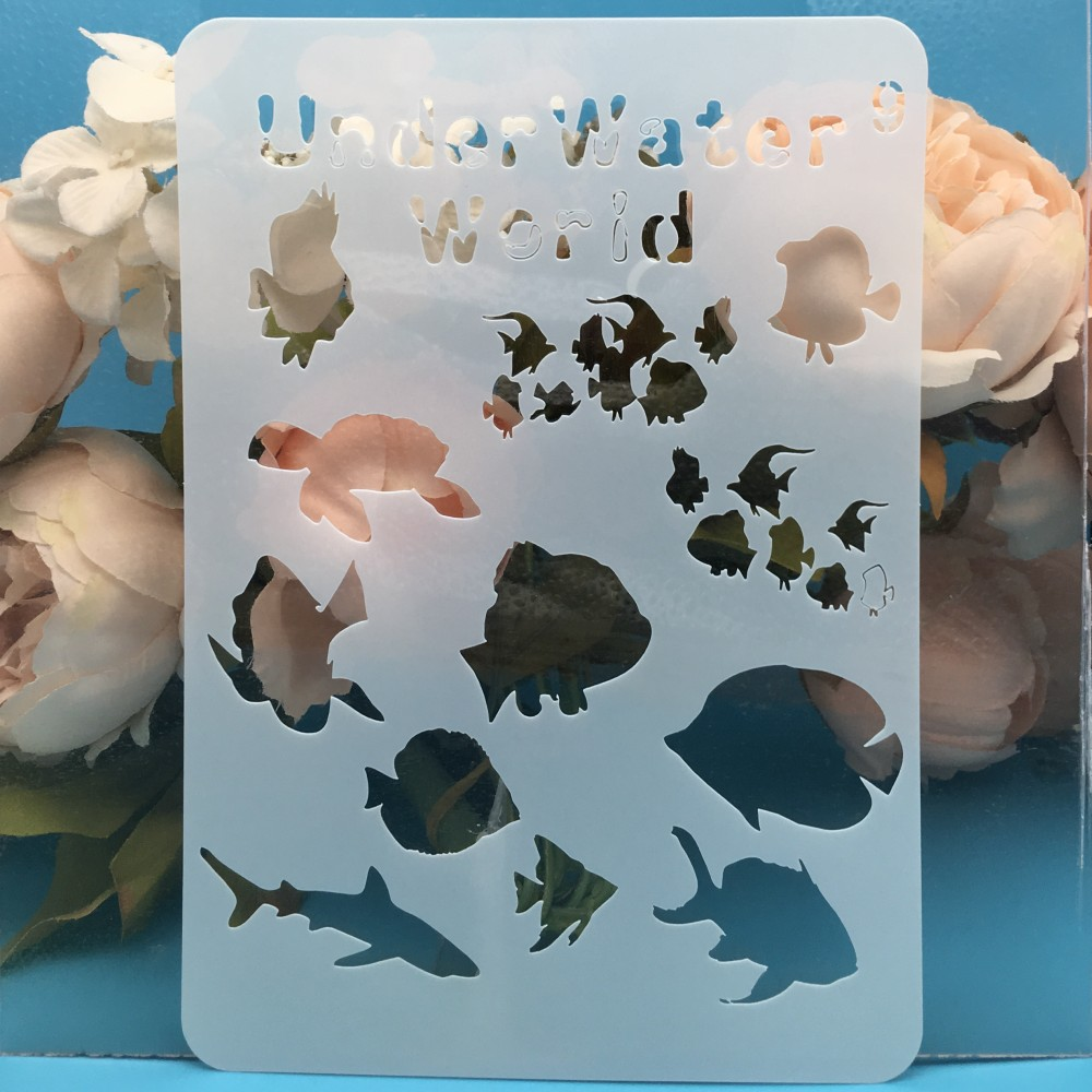 20x14cm Underwater World Fish DIY Layering Stencils Wall Painting Scrapbook Coloring Embossing Album Decorative Card Template