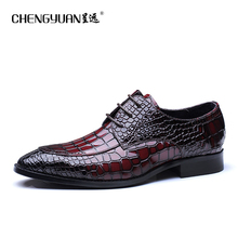 Men flats business quality leather shoes mens wine red blue lace up large size us11 dress wedding party fashion Shoes CHENGYUAN