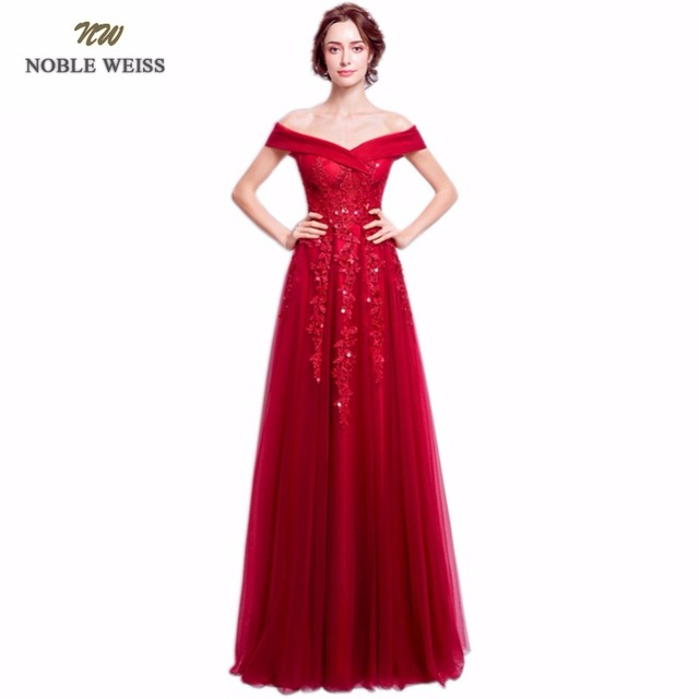 NOBLE WEISS Dark Red Evening Dresses Long V neck Appliques Beaded ...