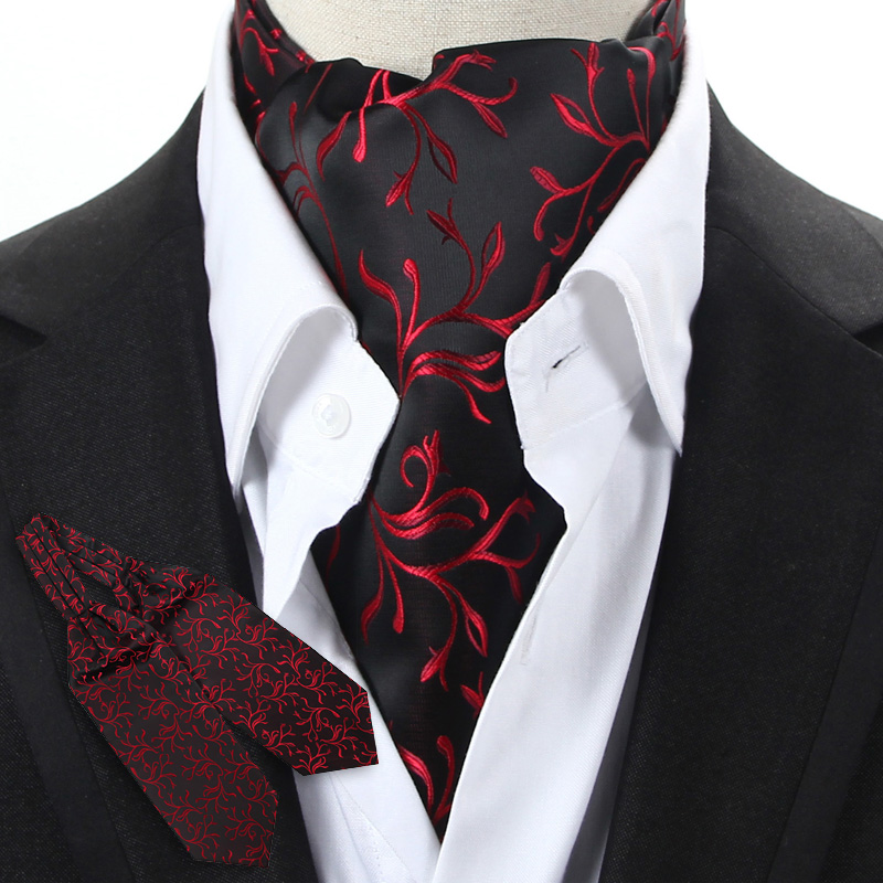 YISHLINE Mens Black Blue Red Floral Vintage Neckwear Cravat Ascot Tie Gentleman Self Tied Polyester Silk Neck Tie