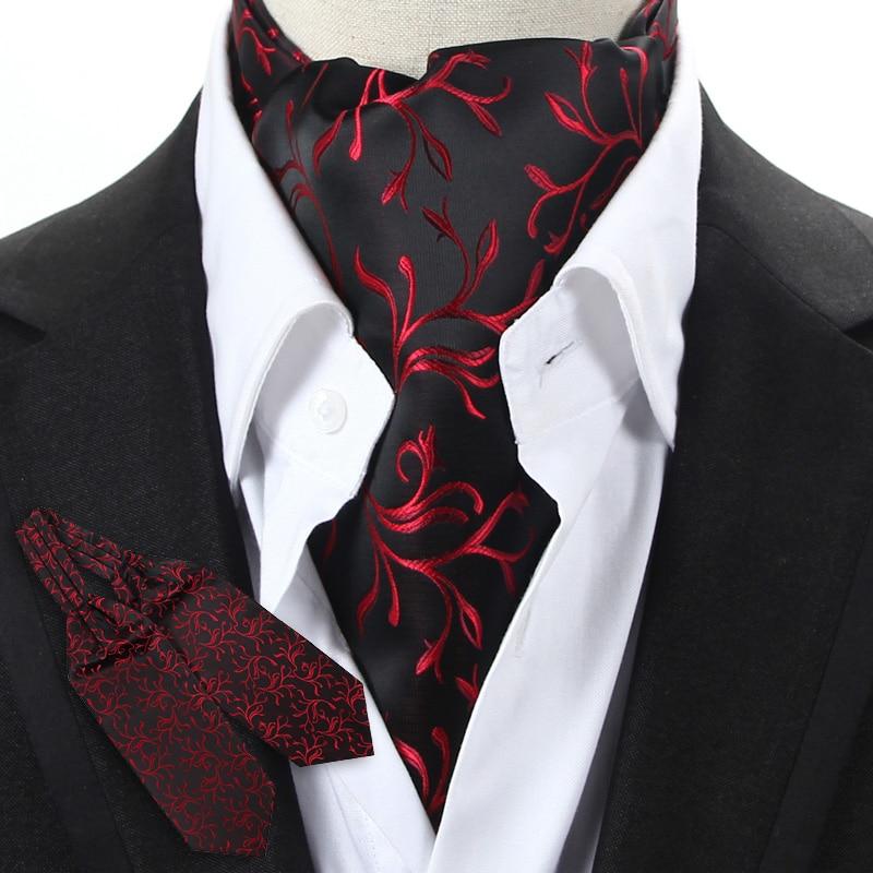 YISHLINE Mens Black Blue Red Floral Vintage Neckwear Cravat Ascot Tie Gentleman Self Tied Polyester Silk Neck Tie