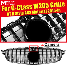 GTS Style Grille Fits For W205 Sports Grills Mesh Black ABS Material C180 C200 C230 C250 C280 C300 C350 with Camera 2015+