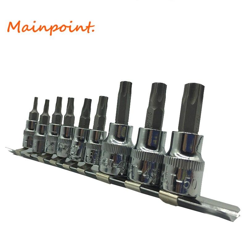 9Pcs Tamper Proof Torx Star Bits Socket Set 1/4 & 3/8 Drive T10,T15,T20,T25,T27,T30,T40,T45,T50 Wrench Sockets Sets Hand Tools