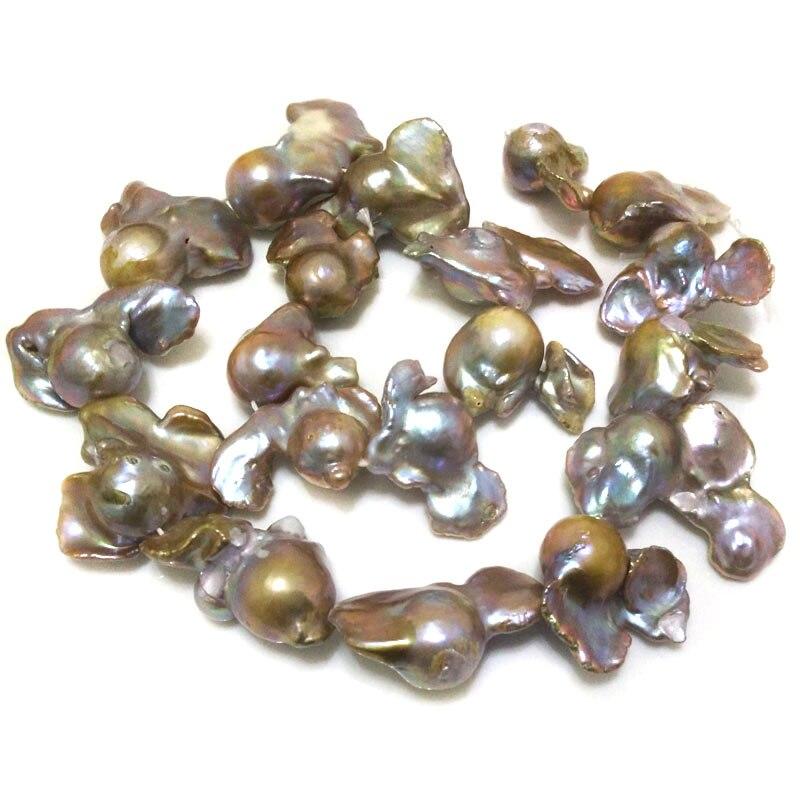 16 pouces 20-35mm naturel lavande Baroque perle lâche brin pour collier