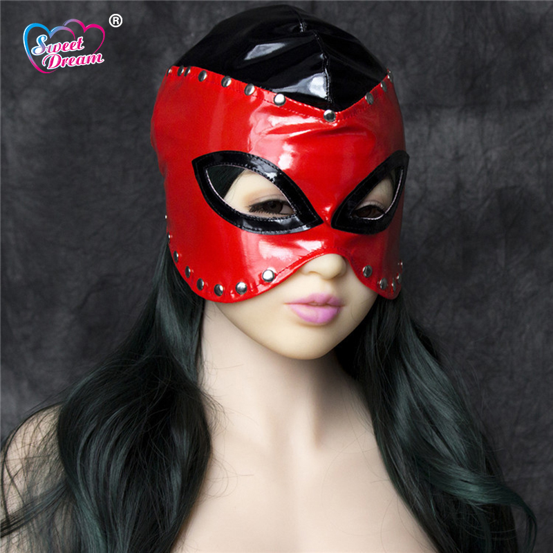 Sweet Dream PU Leather Sex Queen Aura Masks/Hoods Open Eyes Fetish Erotic Toys Role Play Adult Game Sex Toys For Couple DW-449