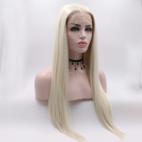 Fantasy Beauty Fashion Platinum Blonde Synthetic Lace Front Wigs Heat Resistant Long Natural Straight White Blonde Wigs Cosplay
