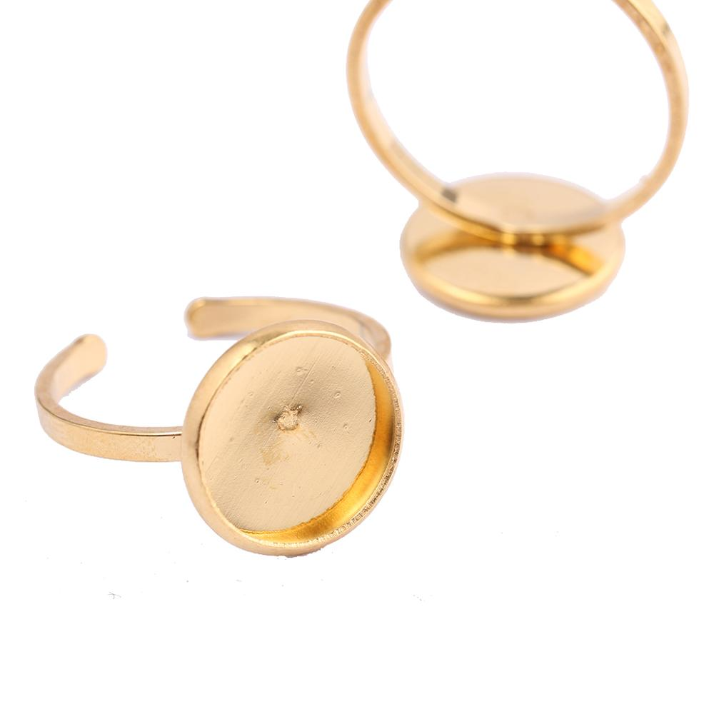 Onwear 10pcs Gold Plated Stainless Steel 12mm Glass Cabochon Ring Base Blanks Diy Blank Cameo Bezel Settings For Rings Making