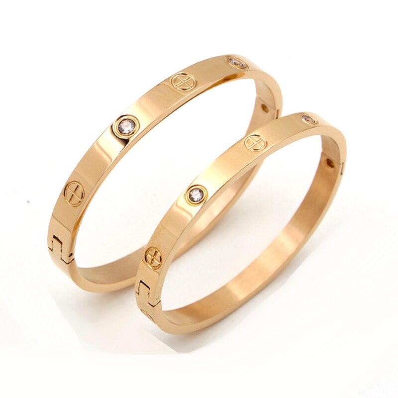 092d3570ed68 FYSARA joyas de moda amante par de pulsera de acero inoxidable de Color oro  Cruz tornillo pulseras y brazaletes para hombres joyería de las mujeres en  ...