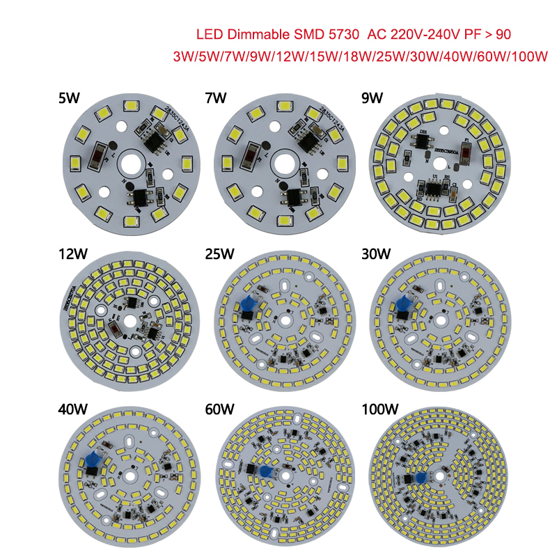 Dimmable led pcb module 25w 30w 40w 60w led bulb 100W led high bay light integrated Driver 5730 assembly led Ceiling down light 20pcs 12w led light panel smd 5730 ic driver pcb input voltage ac110v 130v needn t driver aluminum plate free shippping