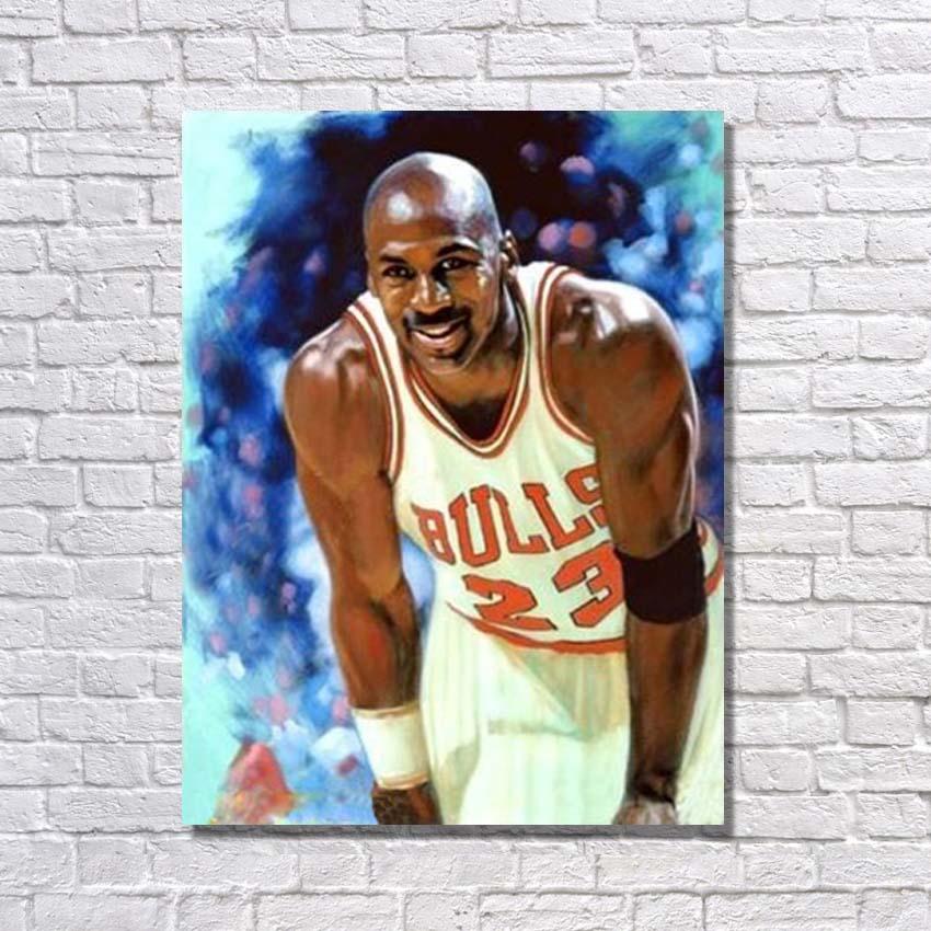 En gros à vendre peint à la main célèbre basket-ball étoile peinture à l'huile sur toile mur photos pour chambre décor pas encadré