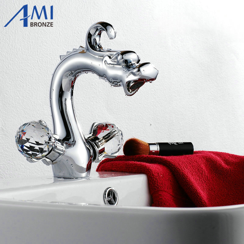 8 Chrome Dragon Basin Faucets crane Bathroom Brass Faucet Sink Basin Mixer Tap 9003CS