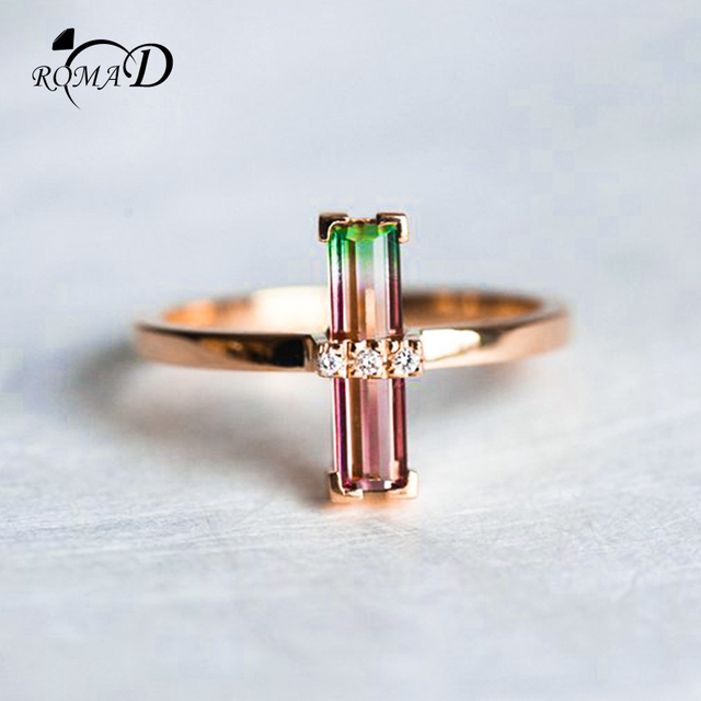 Aliexpress Romad Simulate Tourmaline Engagement Ring For Women Unique Wedding Rose Gold Art Deco Baguette Finger R4 From Reliable