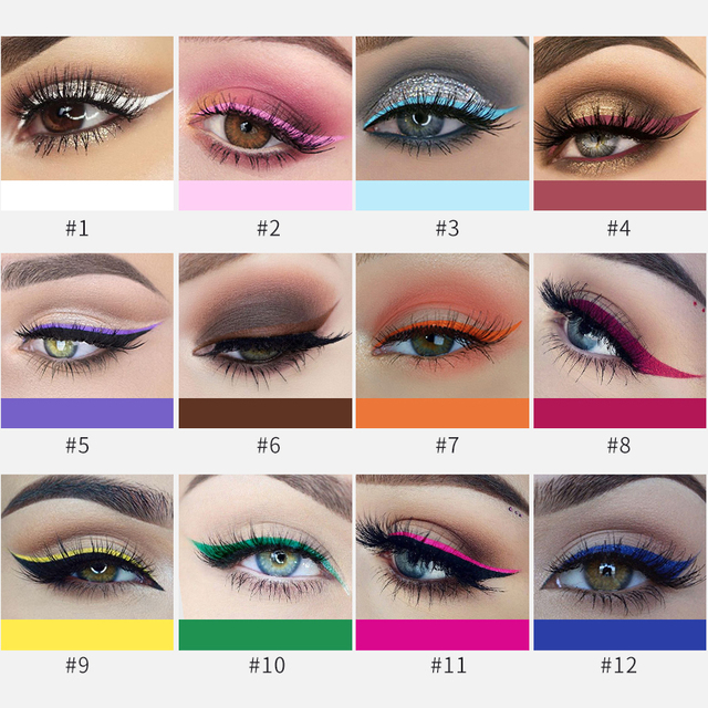 HANDAIYAN Colorful Eyeliner Pencil Eyes Cosmetics Brown Liquid Eye Liner Pen Makeup Color Eyeliners Waterproof Felt-tip Eyliner 3