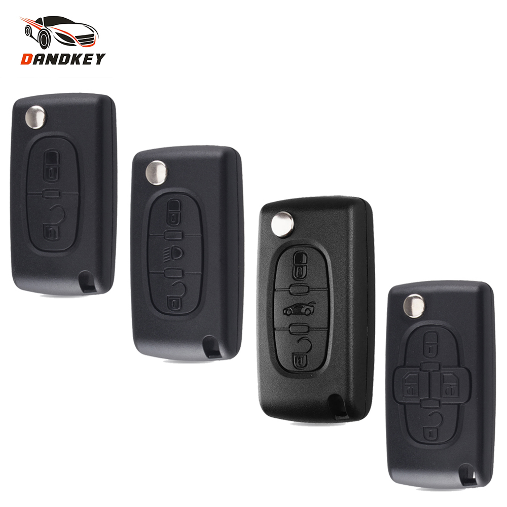 Dandkey 2/3/4 Button Flip Remote Key Shell For Peugeot 207 307 308 407 607 For Citroen