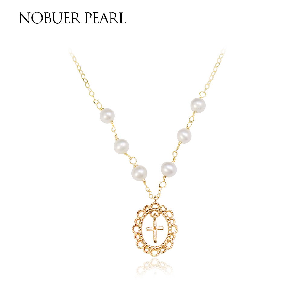 Nob Trendy Cross Style Natural Pearl Pendant Necklace For Women 4-5mm White Pearls Fine Jewelry To A Party