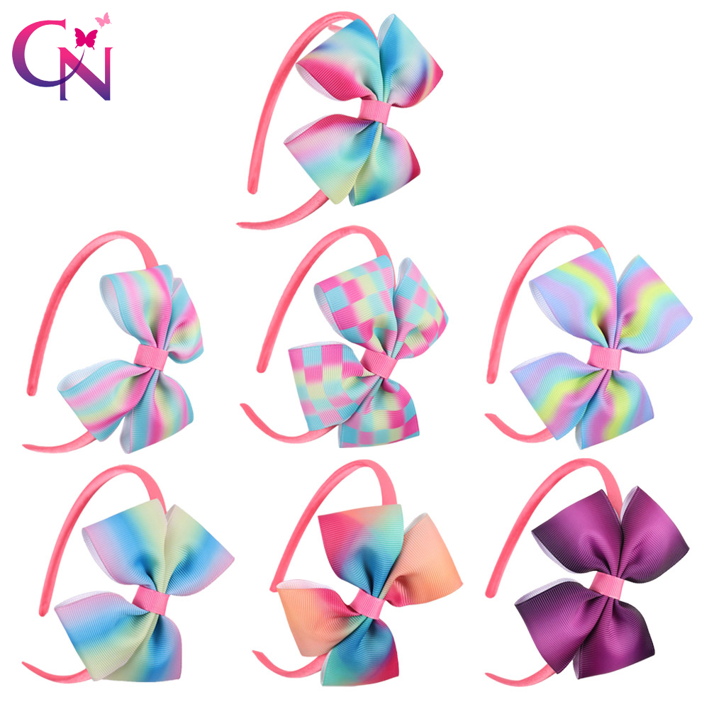 7 Pieces/lot Rainbow Bow Hairbands For Kids Girls Handmade Hard Satin Headbands With Printed Ribbon Hair Bows Hair Accessories