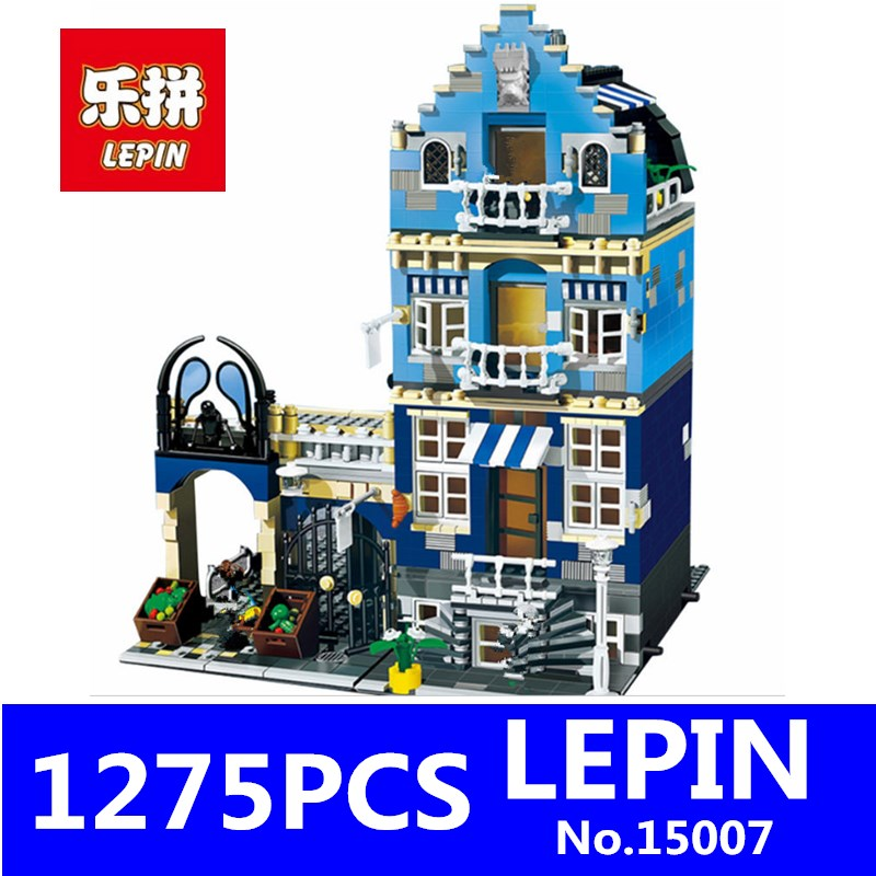 LEPIN 15007 1275pcs European Market City Creator Street Building Blocks Bricks Children Educational Toys Compatible 10190 lepin 24021 city creator 3 in 1 island adventures building block 379pcs diy educational toys for children compatible legoe