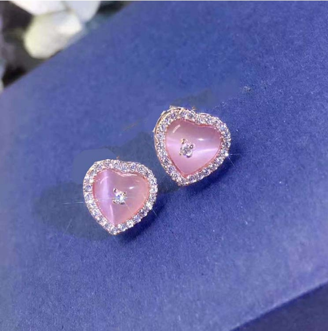 Meilleur prix 100% 925 en argent Sterling naturel rose cristal pierre Stud boucle d'oreille pour les femmes, clair CZ Bijoux de luxe Bijoux