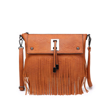 Hot Sale!! Womens Tassle Tassel Fringe PU Shoulder Messenger Crossbody Bag Handbag Purse Black Brown Gray