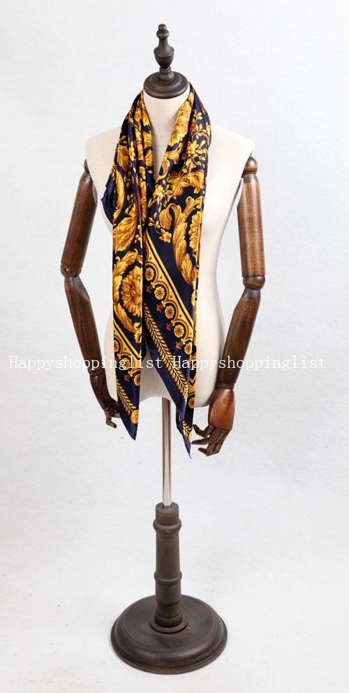 Elegante marca hecha a mano 100% crepe satén seda liso 110 cm bufanda