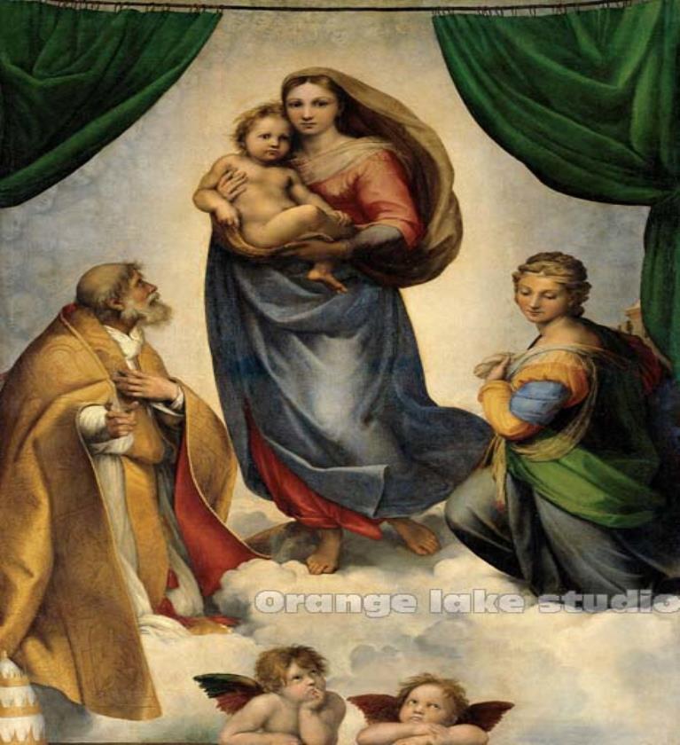 Vintage Raphael Sistine Madonna Painting Canvas Wall Art Picture Home Decoration Living Room Canvas Print Pure cotton Canvas