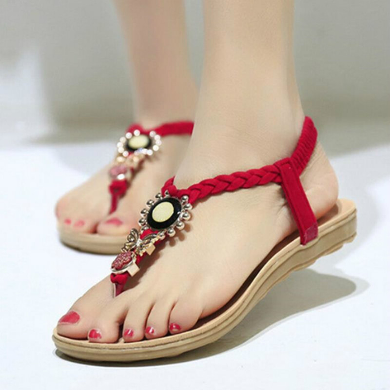 Red Balck Beige Sandals Ankle-Strap Flats Sandals Women Summer Shoes 2018 Sexy Womens Beach Shoes Plus Size 40 цена 2017