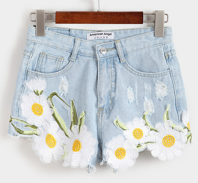 Retro Summer Women Girls Blue High Waist Jeans Casual Denim Shorts Embroidery Loose Shorts