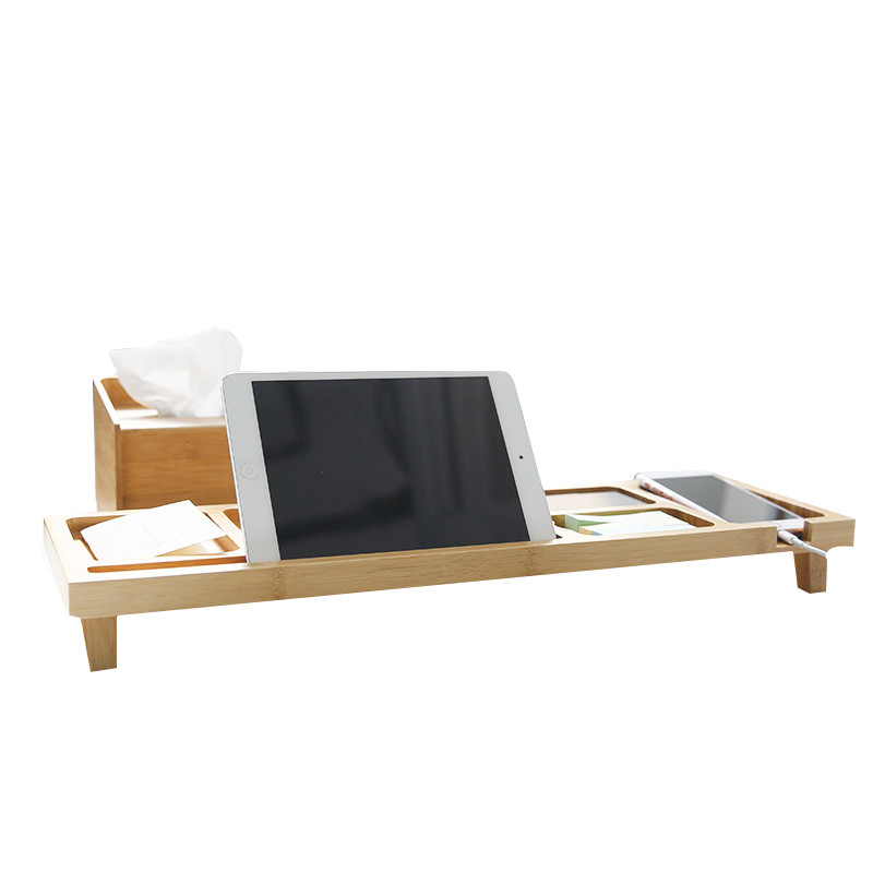 bamboo office desk organizer neck protective computer laptop higher holder table storage racks for stationary
