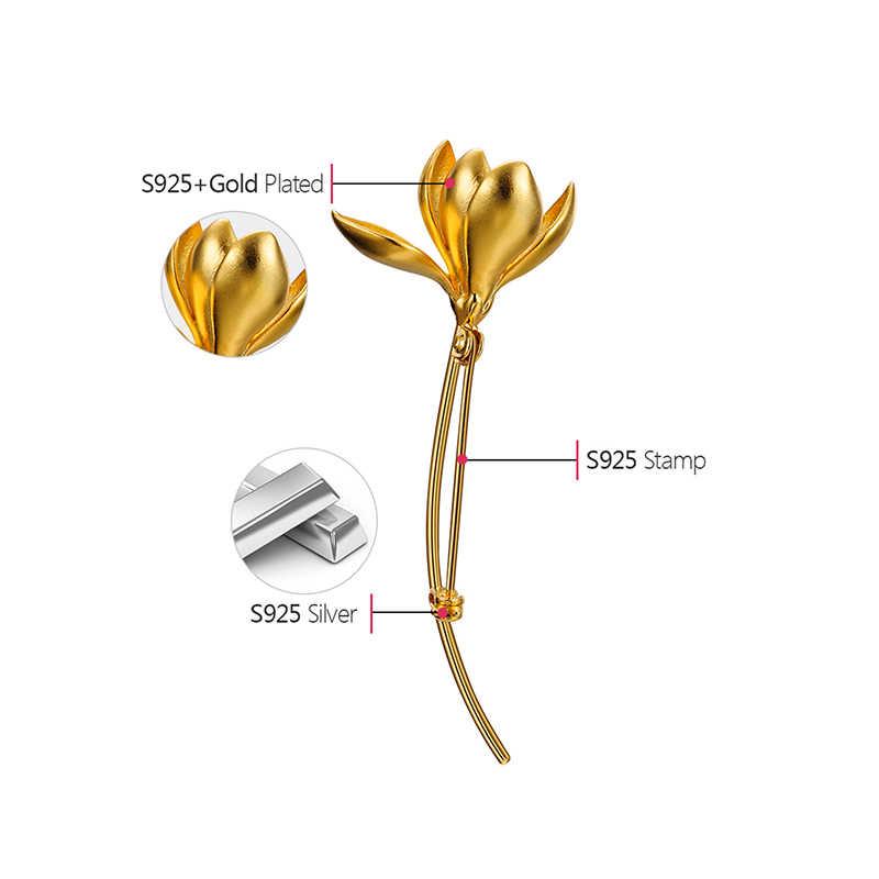 Lotus สนุกจริง 925 เงินสเตอร์ลิง Handmade Designer Fine เครื่องประดับ Magnolia ดอกไม้เข็มกลัดสำหรับผู้หญิง Bijoux