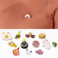 Kawaii Fruit Cartoon Animal Badges Metal Alloy Brooch Badges Pin Icon Backpack Clothes Decoration Icons Accessories