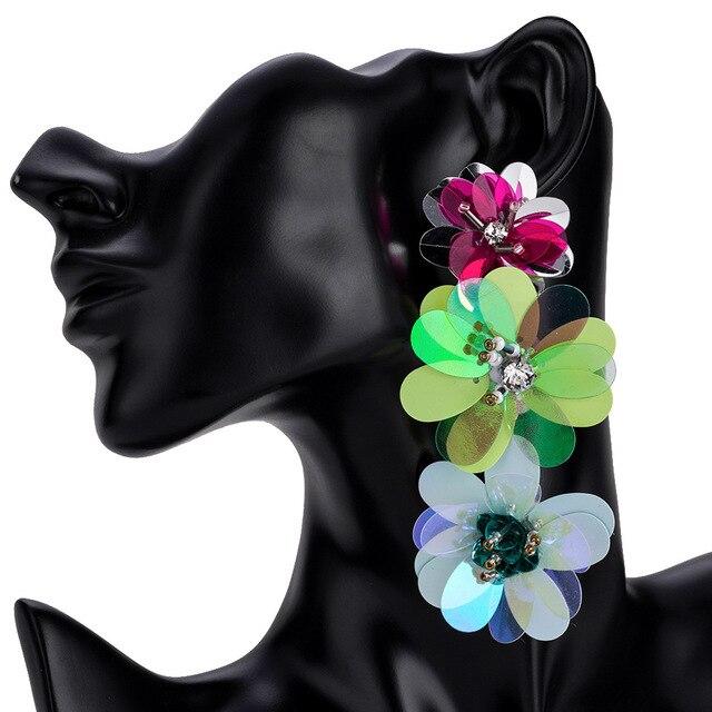 Flower drop Earring For Women Sequins Statement Earrings 2018 Floral long dangle earing fashion Jewelry large earing  Wholesale