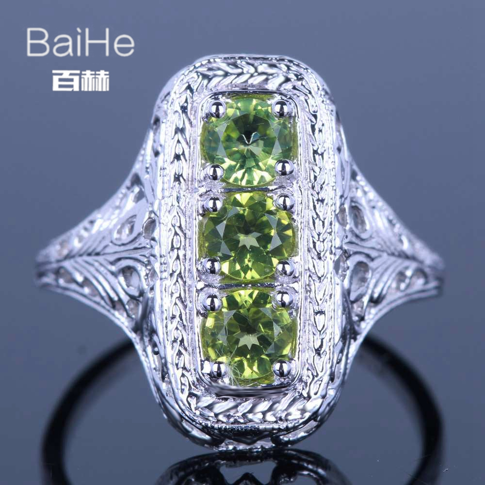 BAIHE solide 14 K or blanc (AU585) 1CT certifié vert impeccable 100% véritable péridot Engagement femmes à la mode Fine bijoux anneau