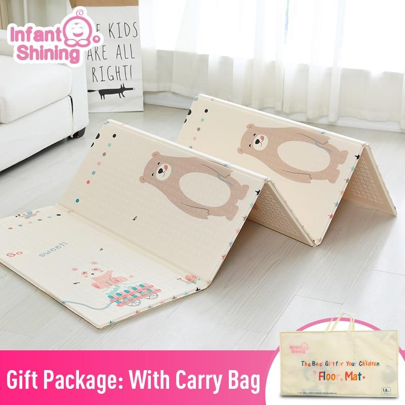 Bébé brillant 1.5 CM épais bébé tapis tapis de jeu pliable enfant tapis de jeu 200*180 CM grand enfant ramper tapis Puzzle couverture jeu Pad
