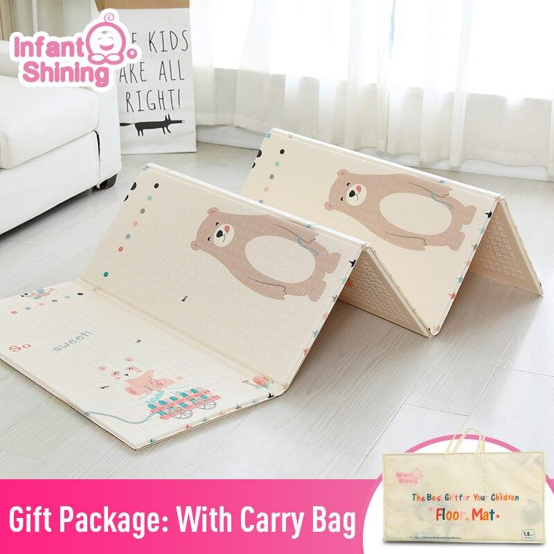 Bébé brillant 1.5CM épais bébé tapis tapis de jeu pliable enfant tapis de jeu 200*180CM grand enfant ramper tapis Puzzle couverture jeu Pad