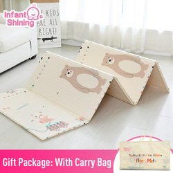 Infant Shining 1.5CM Thick Baby Mat Playmat Foldable Kid Play Mat 200*180CM Large Child Crawling Mat Puzzle Blanket Game Pad