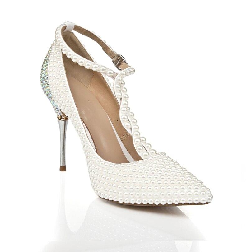 Brilho Sapatos de Casamento Dedo Apontado Elegante Salto Fino Fivela Cinta T Mulher De Salto Alto - 3